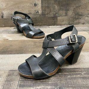 Frye Black Leather Slingback Heels Sandals 8.5 M